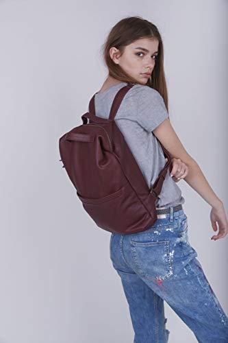 Genuine Burgundy Leather 15 Inch Large Laptop Backpack Unisex Travel Rucksack