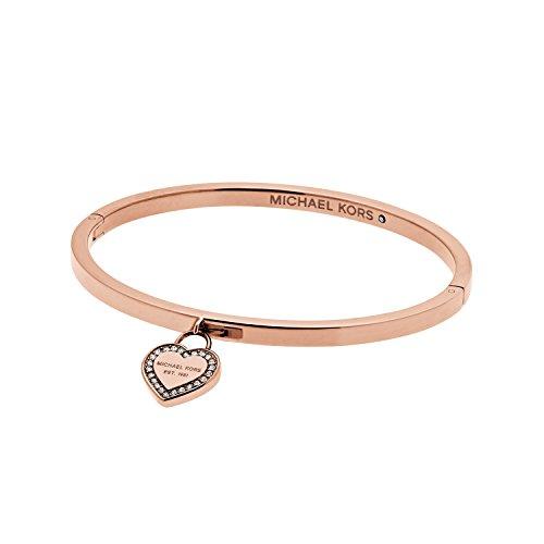 Michael Kors Pulsera rígida de oro rosa con corazón