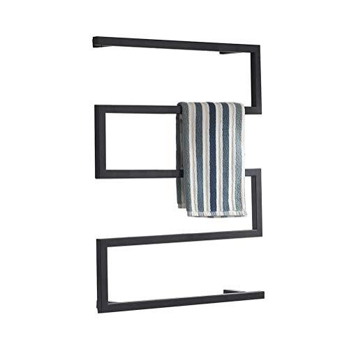 MTX-Racks handdoekverwarmer elektrische handdoekdroger, zwart aan de muur gemonteerde radiator, platte handdoekverwarmer ladder voor stijlvolle badkamer 800 x 600 mm - ruimtebesparend modern design