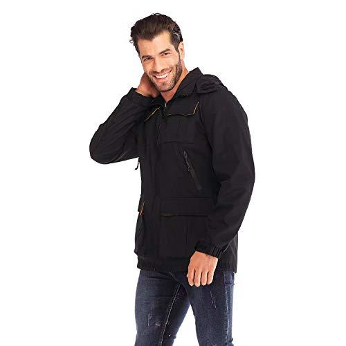 Visionreast heren jongens windjack overgangsjas functionele jas softshell jas rits outdoor jas vrijetijdsjas met afneembare capuchon waterdicht winddicht