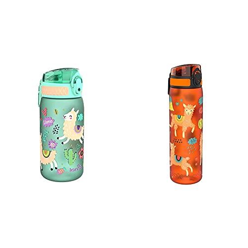 Ion8 Leak Proof Kids' Water Bottle, BPA 400ml / 13oz, Llamas & Leak Proof Slim Water Bottle, BPA Free, Llamas