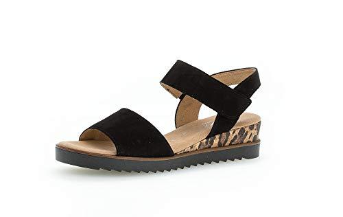Gabor Damen Sandalen, Frauen Sandaletten,Moderate Mehrweite (G),Sommerschuhe,Sommersandalen,bequem,flach,weiblich,schw.(KLuchs/schw),40.5 EU / 7 UK