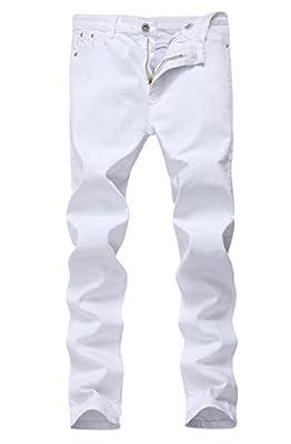 Men's White Skinny Slim Fit Stretch Straight Leg Fashion Jeans Pants, Size 36 by