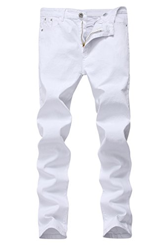 Men's White Skinny Slim Fit Stretch Straight Leg Fashion Jeans Pants,White,38W