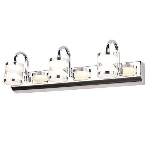 Luz de tocador plateada moderna de 17.7 pulgadas, 3 luces LED, baño, maquillaje, espejo, accesorio de iluminación, luces de montaje en pared de acero inoxidable, para baño, sala de estar, dormitorio