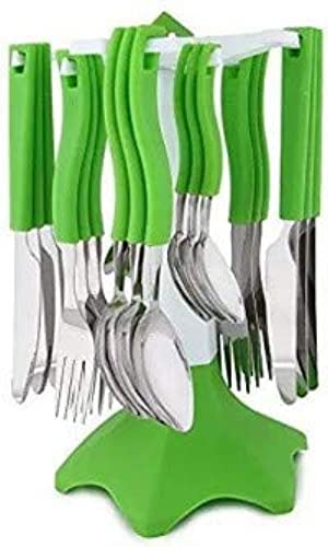 DK HOME APPLIANCES Premium Cutlery Set with Stand Stainless Steel Spoon Set 24 pcs with Stand and ABS Plastic Spoon Knife Fork Case Sink Basket Rack Organizer Storage Stand Holder Green Color