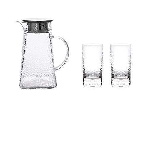 Riyyow Patrón de Martillo nórdico Botella de Agua Fresca Hervidor de Vidrio Resistente al Calor Capacidad Grande Hervidor de Agua fría (Color : D)