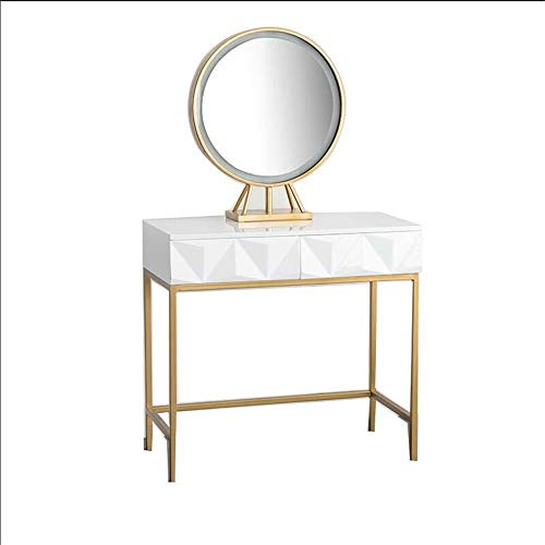 Buy Bargain YonCog Personality Vanity Table Set with Round Mirror and Cushioned Stool Dressing Table...