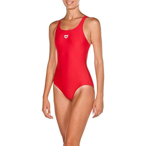 ARENA Dynamo Costume Intero Donna, Costume da Bagno Sportivo in Tessuto MaxFit ad Asciugatura Rapida Resistente a Cloro e Sale, Protezione UV UPF 50+, 44 , Rosso (Red)