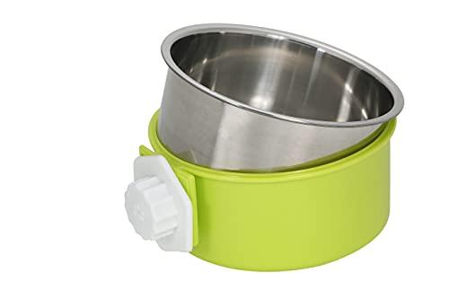 S&L ペット食器 ハンガーボウル 餌入れ 水入れ ケージ用 固定 ステンレス 取り外し可能 犬 猫 うさぎ 小動物用 (グリーン)