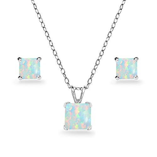 GemStar USA Sterling Silver Synthetic White Opal Square Solitaire Necklace and Stud Earrings Set