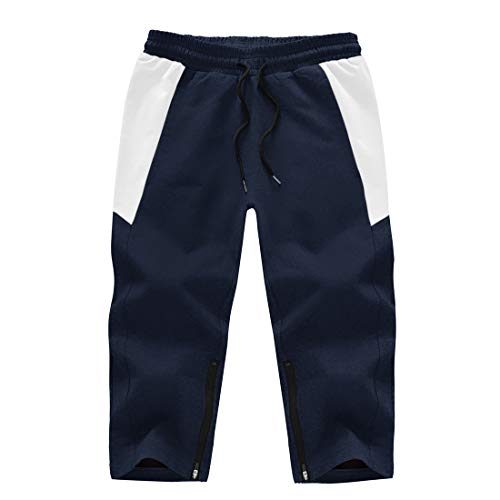 donhobo Pantalones cortos 3/4 para hombre, pantalones de chándal de algodón, pantalones capri, pantalones de verano, tiempo libre, con bolsillos con cremallera azul oscuro 36