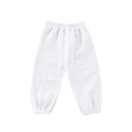 MODNTOGA Cute Toddler Kids Baby Boy Girl Casual Eelastic Harem Long Pants Bloomers (White, 3-4 Years(110))