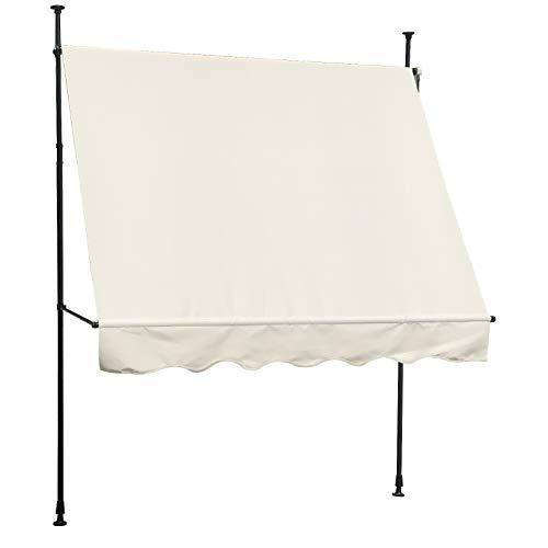 SVITA - Toldo para balcón, protección solar, manivela de mano, sin agujeros, 200 x 120 cm, color beige crema