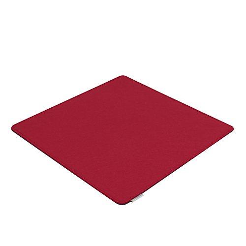 7even Filz Auflage 50 x 50 cm für z.B. Cube Hocker Rot/Grau - Beidseitig 4mm/4mm