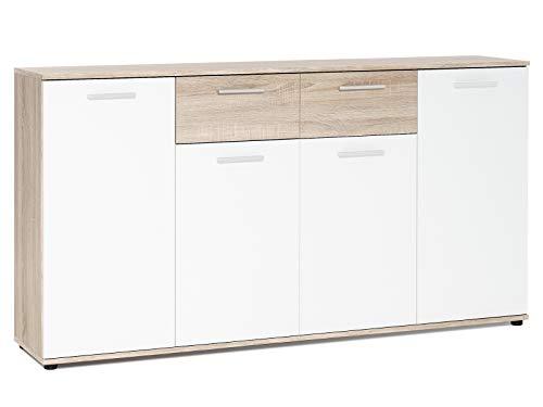 möbelando Sideboard Beistellschrank Anrichte Standschrank Kommode Highboard Jacklin II Sonoma-Eiche/Weiß