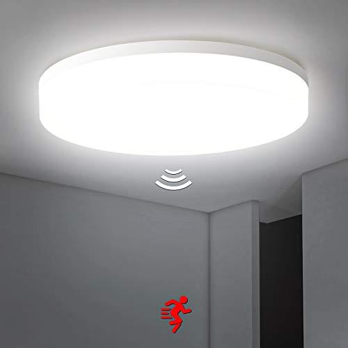Plafoniera a LED con rilevatore di movimento 36W, 3800LM Lampada da soffitto con sensor a Microonde, Bianco Naturale 4000K Impermeabile IP54 Plafoniera LED, per balcone, corridoio, Scale, ø32,7cm