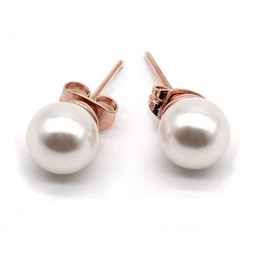 Mimei Pendientes Perlas Mujer, Pendientes Oro 18k con 8mm Perla Blanca Para Mujer/Regalo Mamá