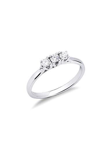Gioielli di Valenza - Anello Trilogy intreccio in Oro bianco 18k con Diamanti ct. 0,30 - TR02030BB - 8