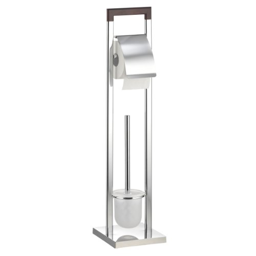 axentia WC-Garnitur Nobless, verchromt, mit WC-Papierrollenhalter, WC-Bürstenhalter und WC-Bürste, Griff in Walnussholzoptik, Maße: ca. 18 x 18 x 75 cm