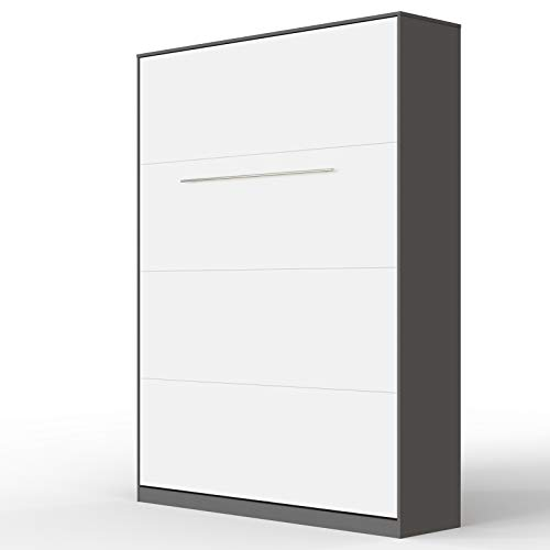 SMARTBett Standard 140x200cm Vertical Anthracite/White Comfort   Murphy Bed, Folding Wall Bed, Fold Down Bed, Fold-Away Bed, Foldable Bed, Cabinet Bed