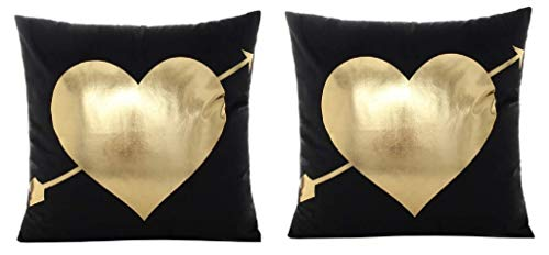 EVRYLON 2 Fundas de Almohada Cojines Cuadrados 44 cm sofá Cama corazón Cupido Oro Negro