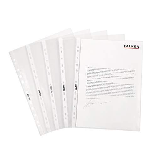 Original Falken 100er Pack Standard PP-Kunststoff Prospekthüllen. Für DIN A4 transparent genarbt oben offen Klarsichtfolie Plastikhülle Klarsichthülle ideal für Ordner Ringbücher und Hefter