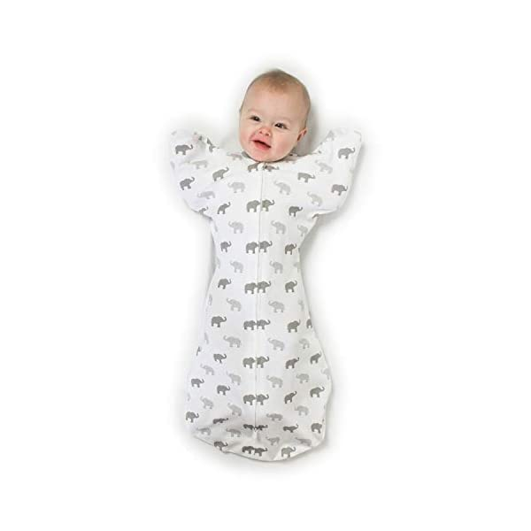 Amazing Baby Transitional Swaddle Sack with Arms Up Half-Length Sleeves and Mitten Cuffs, Tiny Elephants, Sterling, Medium, 3-6 Months (Parents' Picks Award Winner, Easy Transition with Better Sleep)