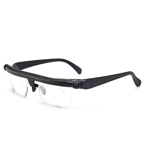 nobrand Wangweng Lesebrille einstellbar leichte Brille Kurzsichtigkeit -6D bis + Vergrößerung Variabler Intensität fokussierte Vision Dioptrien 3D (Farbe: schwarz und transparent)