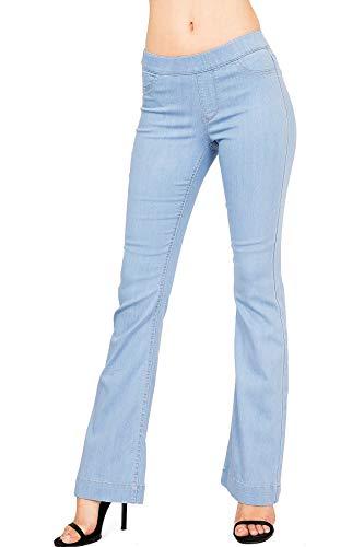 Cello Women's Juniors Mid Waist Skinny Fit Bootcut Pants (XL, Light Denim)