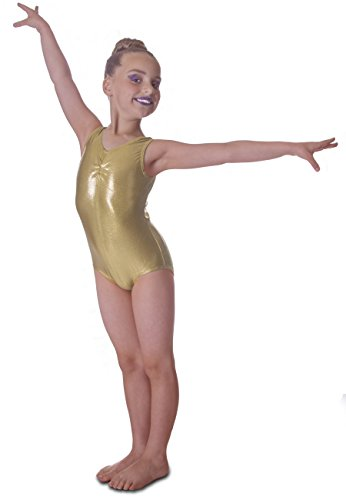 Vincenza Dancewear Shiny Gold Metallic Sleeveless Dance Rhythmic Gymnastics Leotard (11-12 Years, Gold)