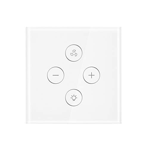 Interruptor inteligente WiFi Interruptor de atenuación de luz inteligente Control de velocidad del ventilador con temporizador, Panel táctil de control remoto Funciona con Alexa/Google (1 / 4Packs)