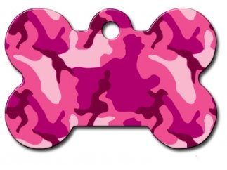 Camo Collection Bone Shape Personalized Custom Engraved Pet ID Tags! (Pink Camo, Large Tag (1-1/2'x1))