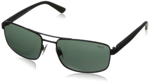 Polo Ralph Lauren Herren PH3086 Sonnenbrille, Schwarz (Matte Black 903871), One Size (Herstellergröße: 58)