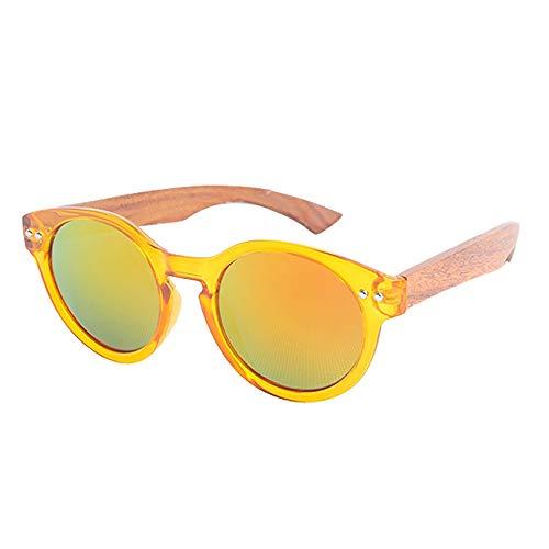 Picobao zonnebril, gepolariseerd, UV400, veiligheidsbril van glas, handgemaakt, van bamboehout, ronde zonnebril