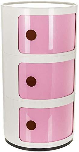 Costello ® - Comodino con 2 3 4 5 cassetti, Colore: Bianco 3 Ripiani, Bianco e Rosa.