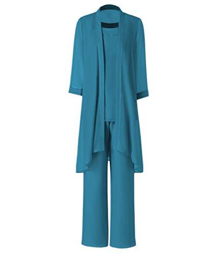 Pretygirl Damen 3 Stück Satin Chiffon Kleid für die Brautmutter Hose mit Jacke Outfit für Hochzeit Bräutigam(US 18 Plus, Teal)