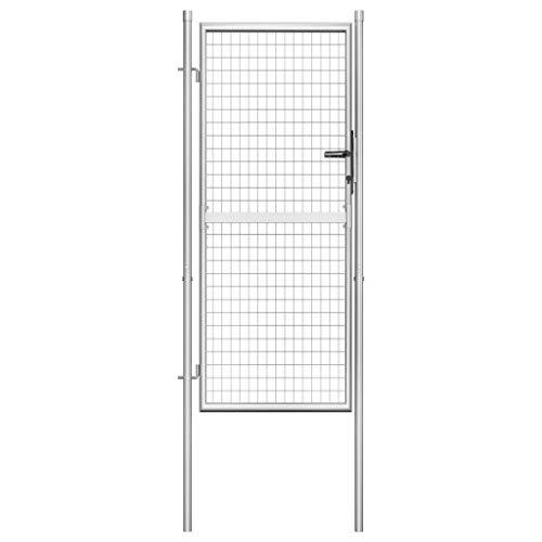 Nishore Cancello per Giardino in Acciaio Zincato 105x225cm Argento, Serratura Resistente con 3 Chiavi Corrispondenti
