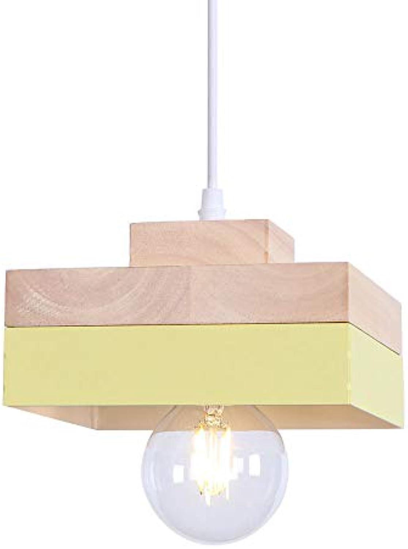 Esszimmer Pendelleuchte, Deckenleuchte Hngelampe für die Küche Studio Restaurant Cafe Wohnzimmer 1-Light Pendelleuchte Holz,Gelb