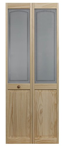 LTL Home Products 884720 Litho Half Glass Bifold Interior Wood Door, 24 Inches x 80 Inches, Unfinished Pine