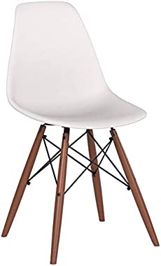 EdgeMod Vortex Modern Mid-Century Side Chair with Wooden Walnut Legs for Kitchen, Living Room and Dining Room, White (Set of