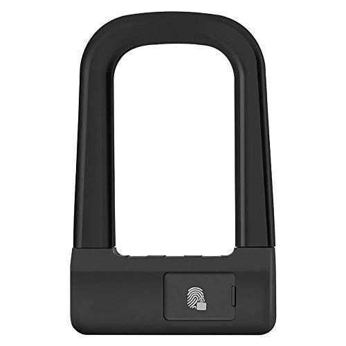 Slim ZHOUM Heavy Duty Fiets U-Lock Fingerprint Unlock U-slot fietsslot motorfiets elektrische auto anti-diefstal Intelligence fietsslot Fietsen U Lock (Color : Black, Size : 120X128MM)