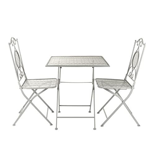 Set da giardino pieghevole tavolino e 2 sedie in ferro grigio Grigio