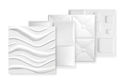 HEXIM Paneles 3D de 50 x 50 cm, diseño de pared y techo con placas de poliestireno expandido (EPS), color blanco