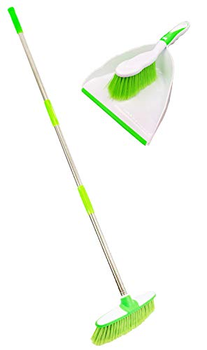 Sweeping Broom Indoor with Matching Dustpan and Brush Sets Household Cleaning Essentials - Perfect Kitchen Floor Brush with Dust Pan and Brush Set