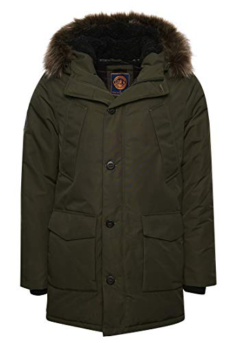 Superdry Mens Everest Parka, Army Khaki, Medium
