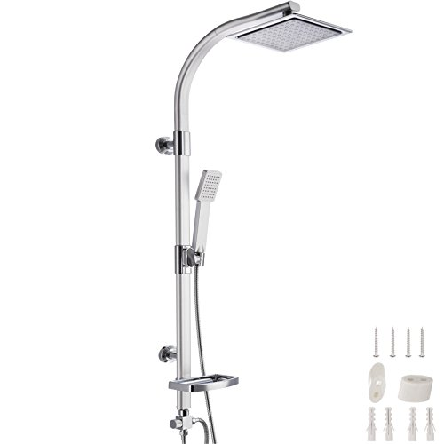 TecTake Duschsystem Regendusche mit Handbrause | Kopfbrause mit Kugelgelenk | Regenduschkopf mit 100 Düsen