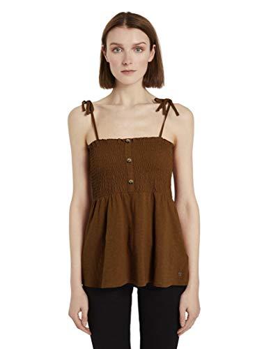 TOM TAILOR Denim Damen Smocked T-Shirt, 22110-mango Brown, XS