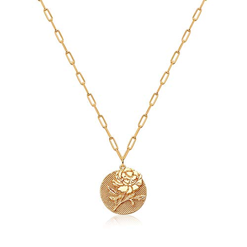 Mevecco Bold Peony Birth Month Flower Pendant Necklace for Women 18K Gold Plated Embossed Disk Karma Circle Pendant Rectangle link Chain Coin Necklace Meaningful Gift Personalized Everyday Jewelry
