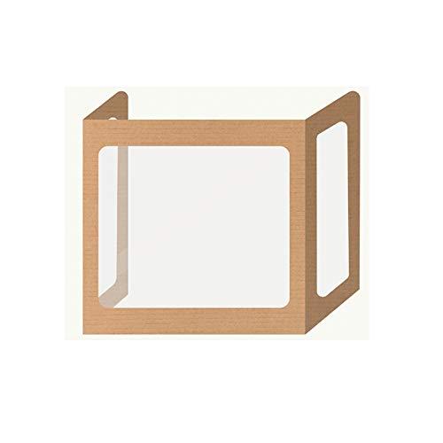 "3 Sided Plastic PET Desk Dividers – Freestanding Sneeze Splash Guard – Clear Portable Barrier Partition for Counter - Students Desks (MyDeskShield 23"" H x 20"" W – 13"" D, 1 Pack)"